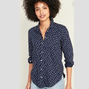 NWT Old Navy Relaxed Blue Polka Dot Shirt XL